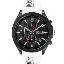 BOSS Mens Velocity Black Dial White Rubber Strap Watch 1513718