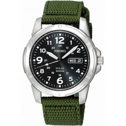 Seiko Discover More Solar Green Fabric Strap Watch SNE095P2
