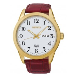 Seiko Mens Solar Powered Red Watch SNE372P1