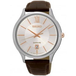 Seiko Mens Discover More Brown Leather Strap Watch SGEH55P1