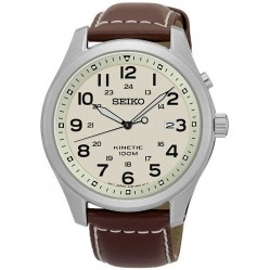 Seiko Discover More Kinetic Brown Leather Strap Watch SKA723P1