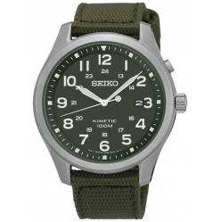 Seiko Mens Discover More Kinetic Green Fabric Strap Watch SKA725P1