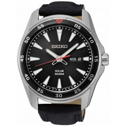 Seiko Discover More Solar Black Leather Strap Watch SNE393P2
