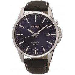 Seiko Mens Kinetic Leather Watch SKA731P1