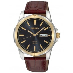 Seiko Discover More Solar Brown Leather Strap Watch SNE102P9