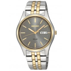 Seiko Mens Discover More Solar Two Tone Bracelet Watch SNE042P9