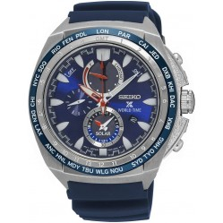 Seiko Prospex World Time Solar Blue Rubber Strap Watch SSC489P1