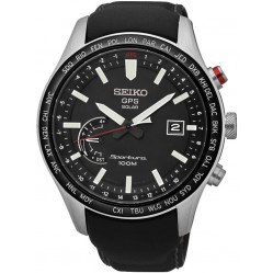 Seiko Discover More Sportura Solar GPS Black Leather Strap Watch SSF007J1