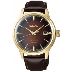 Seiko Mens Presage Automatic Gold Plated Brown Strap Watch SRPD36J1