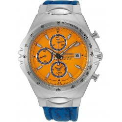 Seiko Mens Conceptual Discover More Quartz Chronograph Blue Leather Strap Watch SNAF83P1