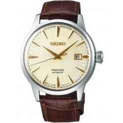 Seiko Mens Presage Automatic Brown Leather Strap Watch SRPC99J1