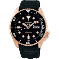 Seiko Mens 5 Sports Two Tone Black Leather Strap Watch SRPD76K1