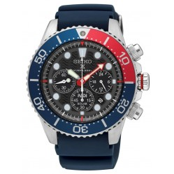 Seiko Mens Prospex PADI Solar Diver Black Chronograph Dial Blue Rubber Strap Watch SSC663P1