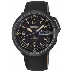 Seiko Mens Prospex Automatic Land Black Day Date Dial Leather Strap Watch SRPD35K1