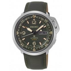 Seiko Mens Prospex Automatic Land Green Day Date Dial Leather Strap Watch SRPD33K1