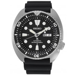 Seiko Mens Prospex Automatic Turtle Diver Black Day Date Dial Rubber Strap Watch SRP777K1