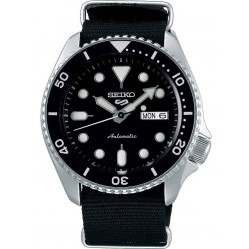Seiko Mens 5 Sports Automatic Black Day Date Dial Nylon Strap Watch SRPD55K3