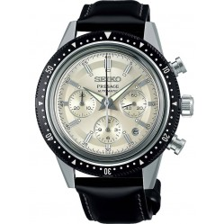 Seiko Mens Presage Automatic Limited Edition 55th Anniversary Cream Chronograph Dial Black Leather Strap Watch  SRQ031J1