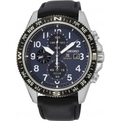 Seiko Mens Prospex Solar Stainless Steel Blue Chronograph Dial Black Leather Strap Watch SSC737P1