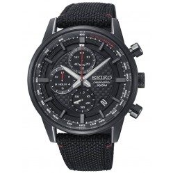 Seiko Mens Neo Sports Textured Black Chronograph Dial Canvas Strap Watch SSB315P1
