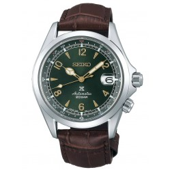 Seiko Mens Prospex Automatic Alpinist Green Date Dial Brown Leather Strap Watch SPB121J1