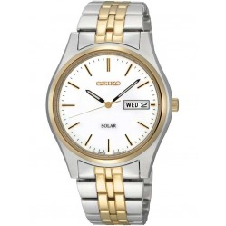 Seiko Mens Discover More Solar Two Tone Bracelet Watch SNE032P1