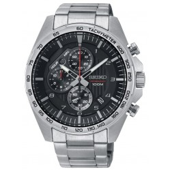 Seiko Mens Discover More Quartz Black Chronograph Bracelet Watch SSB319P1