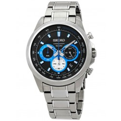 Seiko Mens Discover More Quartz Black and Blue Chronograph Bracelet Watch SSB243P1
