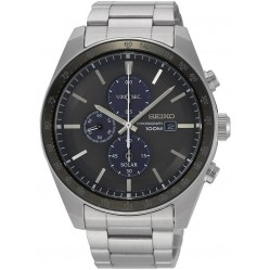 Seiko Mens Discover More Solar Chronograph Black Bracelet Watch SSC715P1