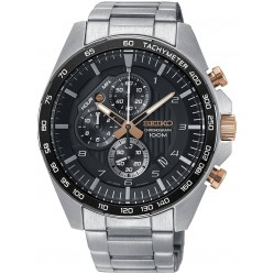 Seiko Mens Discover More Chronograph Black Bracelet Watch SSB323P1