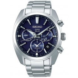 Seiko Mens Astron GPS Solar Blue Chronograph Dial Stainless Steel Bracelet Watch SSH019J1