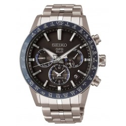 Seiko Mens Astron GPS Solar Black and Blue Chronograph Dial Titanium Bracelet Watch SSH001J1