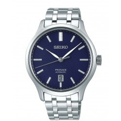 Seiko Mens Presage Automatic Blue Date Dial Stainless Steel Bracelet Watch SRPD41J1