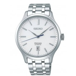 Seiko Mens Presage Automatic White Date Dial Stainless Steel Bracelet Watch SRPD39J1