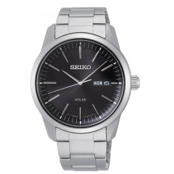 Seiko Mens Solar Black Day Date Dial Stainless Steel Bracelet Watch SNE527P1