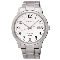 Seiko Mens Sapphire White Dial Stainless Steel Bracelet Watch SGEH67P1