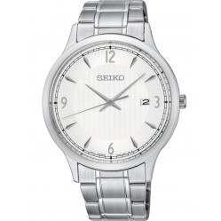 Seiko Mens Silver Patterned Dial Stainless Steel Bracelet Watch SGEH79P1