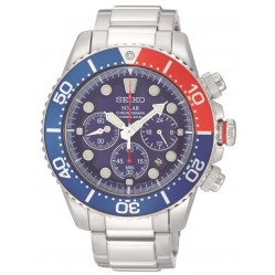 Seiko Mens Solar Blue Red Bezel Bracelet Watch SSC019P1