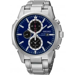 Seiko Discover More Solar Chronograph Blue Bracelet Watch SSC085P1