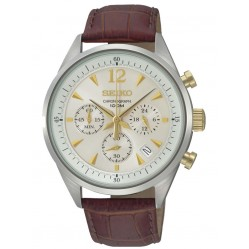 Seiko Mens Brown Chronograph Watch SSB069P1