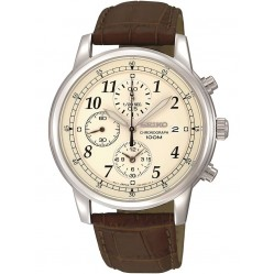 Seiko Discover More Chronograph Brown Leather Strap Watch SNDC31P1