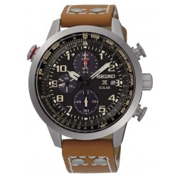 Seiko Prospex Solar Chronograph Brown Leather Strap Watch SSC421P1