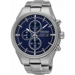 Seiko Mens Discover More Solar Titanium Chronograph Blue Bracelet Watch SSC365P1