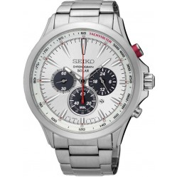 Seiko Mens Stainless Steel Chronograph Solar Bracelet Watch SSC491P1