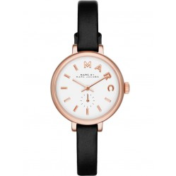 Marc Jacobs Rose Gold Plated Black Strap Watch MBM1352