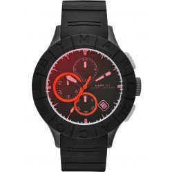 Marc Jacobs Mens Buzz Track Red Dial Black Strap Watch MBM5546