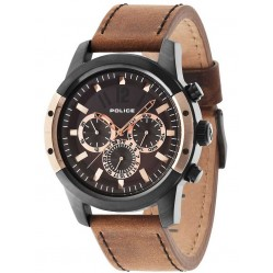 Police Mens Scrambler Brown Strap Watch 14528JSBR/12