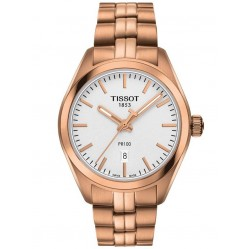 Tissot Ladies PR 100 Rose Gold Plated Silver Date Dial Bracelet Watch T101.210.33.031.01