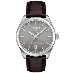 Tissot Mens Stainless Steel Brown Leather Strap Watch T1014071607100
