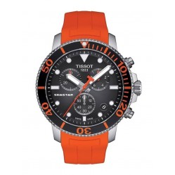 Tissot Mens T-Sport Seastar 1000 Chronograph Orange Rubber Strap Watch T120.417.17.051.01